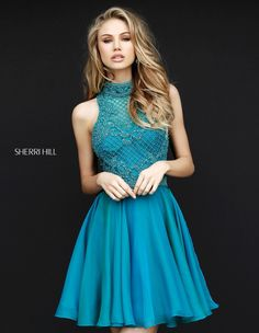 High-neck 2017 Sherri Hill Homecoming Gown. Available at Bridal and Formal's Club Dress Cincinnati OH @bfclubdress (513)821-6622