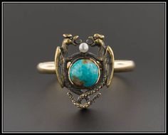 10k Gold Griffin Ring  Turquoise Griffin or Dragon Ring
