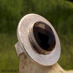 Czarne oko pierścionek ze srebra www.KuferArt.pl