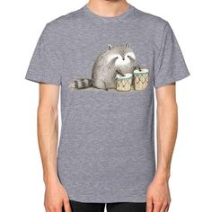 Raccoon on Bongos Unisex T-Shirt (on man)