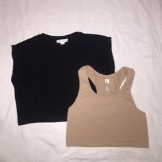 nude & black crop tops I'm selling these together . The black one is from forever 21 and the nude one is from h&m . Feel free to make an offer . Black is a small and the nude is a large but runs really small and can fit as a small or medium . Forever 21 Tops Crop Tops