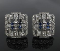 Art Deco 5.50ct Old Mine Cut Diamond & 2.0ct Sapphire Platinum Brooches