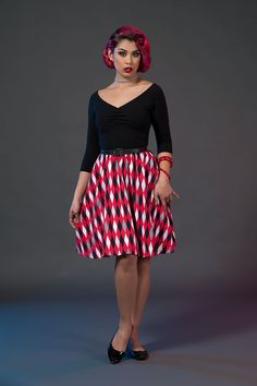 Kayla Dress in Bad Girl Harlequin | Retro Style Swing Dress | Pinup Girl Clothing