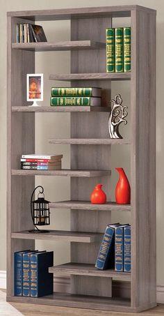 Pelham 9 Shelf Bookcase DISTRESSED GRAY $258.00 @Apt2B.com