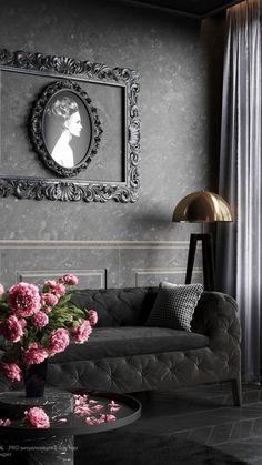 Gothic Interior, Home Interior Design, Goth Home Decor, Dark Home Decor, Living Room Decor Inspiration, Living Room Essentials, Dark Interiors, Gothic House, Living Room Designs