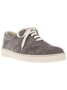 Bottega Veneta Intrecciato Sneaker in Grey Suede