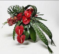 Anthurium and weaving. Unusual valentines arrangement.