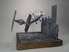 A really cool 1/48 scale trench diorama, using the FineMolds X-Wing and TIE fighter kits.