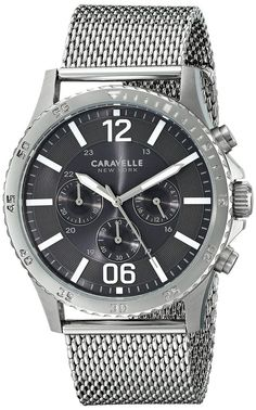 Caravelle New York 43A129 Fashion Chronograph Date Mesh Band Men's Watch #CaravelleNewYork #Fashion