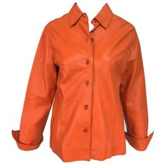 Preowned Vintage Orange Leather Button Front Shirt Jacket 1970s ($375) ❤ liked on Polyvore featuring outerwear, jackets, orange, long sleeve shirt jacket, long sleeve jacket, real leather jackets, vintage jackets and 100 leather jacket