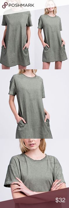 48fbaa64bda6 NWT Olive Green Oil Washed Pocket Tshirt Dress COTTON JERSY OIL WASHED  POCKETED TEE DRESS IN STOCK SIZE LABEL WILL BE SM(M) 3 ML(L) 3 MODEL IS 5   9   AND IS ...