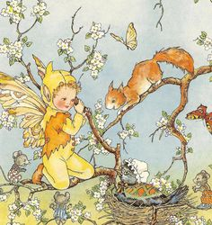 This Vintage 1951 Children's Print By Doreen Baxter Fairy Kneeling On Branch Of Tree Talking To Squirrel Mice Bird Sitting On Nest Book Plate is just one of the custom, handmade pieces you'll find in our shops. Vintage Fairies, Beautiful Fairies, Flower Fairies, Fairy Art, Magical Creatures, Children's Book Illustration, Fantasy Art, Fairy Tales, Felted Scarf