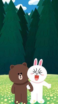 Cony Brown, Brown Bear, Line Cony, Cute Bear Drawings, Cute Love Gif, Brown Line, Cute Love Cartoons, Line Friends, Line Sticker