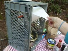 For my camper friends: 8 Things You Need For Camping That You Might Forget : such as this diy paper towel holder made out a plastic crate with a rod through the middle. keeps paper towels from blowing away or falling on the ground! Camping Ideas, Camping Hacks, Camping Info, Camping Diy, Camping Glamping, Camping Checklist, Beach Camping, Camping Essentials, Camping And Hiking