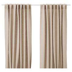 AINA Curtains, 1 pair, beige, The linen fabric has a slightly irregular texture that allows daylight to shine through the weave, while also creating privacy. Beige Curtains, Green Curtains, Drapes Curtains, Linen Curtain, Curtains Living, Contemporary Window Treatments, White Kitchen Curtains
