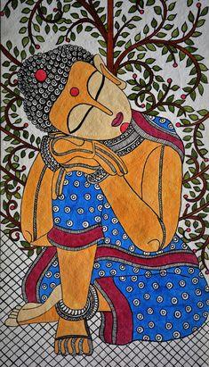 madhubani art Madhubani Painting buddha on Handmade Paper with Acrylic Paint Gond Painting, Kerala Mural Painting, Buddha Painting, Indian Art Paintings, Buddha Drawing, Painting Tips, Abstract Paintings, Watercolor Painting, Oil Paintings