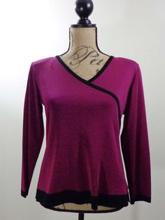 ART TO WEAR Misook blouse artsy knit top berry designer elegant couture sz PS #Misook #Blouse #EveningOccasion