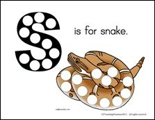 S is for Snake magnet page