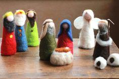 Complete Nativity Scene, 3 Wise Men, Angel, Holy Family,Shepherd,2 Sheep,Baby Jesus ,Needle Felted-Waldorf-Nature Table-Small, Nativity Set