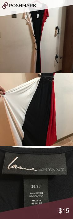 Red, Black & White short sleeve maxi dress NWT.  Perfect condition.  Lightweight cotton feel.  Removable long, thin leather-like belt. Lane Bryant Dresses Maxi