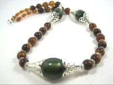 Elegant Chunky Beaded Necklace Green Brown by cynhumphrey on Etsy, $19.99