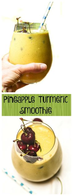 Pineapple Turmeric Smoothie. This is so delicious -- it's sweet and tart at the same time. Use this recipe to reduce inflammation in your body, increase mental clarity, and just to make you smile!