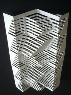 I'm sure this is made out of paper but I'm imagining it in wood large enough to use as a screen &/or shelves
