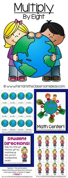 Quick and Easy to Prep - Multiplication Center Game Multiply By Eight Concept for Earth Day ~ Add a little Social Studies and Science to your Math Lessons! #TPT $Paid