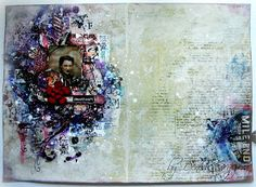 Welcome to my place. Today I´ve got for you an art journal a bit vintage and nostalgic. I was having fun with fabulous Scraps of Darkness ...