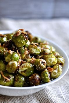 Sesame Garlic Roasted Brussels Sprouts with Crispy Fried Shallots (Paleo, Vegan, Allergy-Free) // thefoodieteen.com
