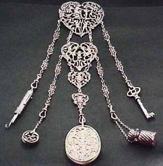 Antique English Victorian Chatelaine Sterling Silver Signed 1868 1900