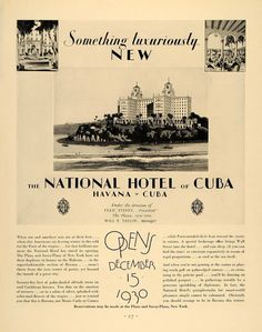 Image result for advertisement for hotel nacional cuba from the 50s