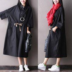 Women Autumn 3/4 Sleeve Black Thin Loose Coat