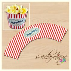 Popcorn Box Cupcake Wrapper - Carnival, Circus, Beach, Movie - Printable - DIY - Digital File - Wedding - INSTANT DOWNLOAD on Etsy, $4.50 AUD