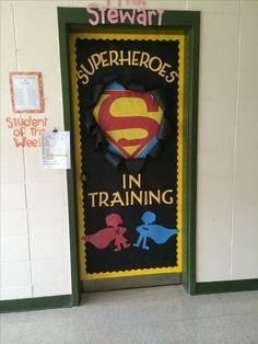 Teacher with the right attitude -- Superhero theme on the classroom door to built self-esteem of the students! Superhero Classroom Theme, Classroom Displays, Classroom Themes, School Classroom, Classroom Organization, Superhero Door, Superhero Bulletin Boards, Superhero Bathroom, Superhero Party
