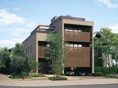 屋上のある3階建て Japanese Home Design, Japanese House, Multi Story Building, House Design, Mansions, House Styles, Wall, Home Decor, Ideas