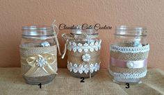 Burlap Mason jar, Rustic wedding, Country wedding, Mason jar, Wedding centerpiece, Rustic mason jar, Wedding decor, Mason jar decor by ClaudiasCuteCouture on Etsy