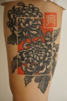 Portland chrysanthemum tattoo; I love the idea of that colored background with a symbol or word in the upper-right-hand corner