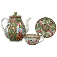 Antique Chinese Qing Rose Medallion Porcelain Teapot with Single Teacup and Saucer - Tea Pot & Tea Cup - Chinese Art Art Furniture, Modern Furniture, Tea Cup Saucer, Tea Cups, Silver Teapot, Tea Service, Fine Porcelain, Red And Blue, Rose