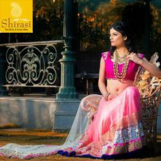 Look magnificent when you sport this elegant Net Lehenga with Silk Blouse.  Sequence work on Net Dupatta adds more glitz to the look.   Available at Shirasi! #Indore #wedding #lehenga #bride