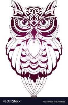 Owl tattoo vector image on VectorStock Tribal Animal Tattoos, Geometric Owl Tattoo, Owl Tattoo Drawings, Tattoo Owl, Totem Tattoo, Owl Tattoo Design, Tattoo Designs, Free Vector Images, Vector Free