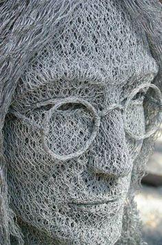 John Lennon, Chicken wire art #streetart