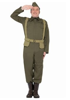 Dressing up in this WW2 Home Guard Private costume is a lot safer than actually…