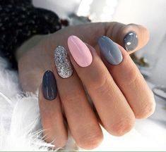 In search for some nail designs and ideas for your nails? Here's our listing of must-try coffin acrylic nails for stylish women. Grey Gel Nails, Cute Acrylic Nails, Love Nails, Pink Nails, Grey Nail Art, Dark Grey Nails, Style Nails, Sparkle Nails, Silver Nails