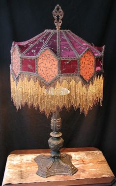 Victorian lampshadegold w muted red shadows c victorian lamps for any victorian parlor featuring custom designed lampshade styles and original antique lamps victorian lampshades custom made aloadofball Choice Image