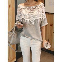 a44c9f96 Lace Cutout Shirt Women Handmade Crochet Cape Collar Batwing Sleeve T-shirt  T-Shirts