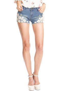 ROMWE | Lace Pocketed Denim Shorts, The Latest Street Fashion