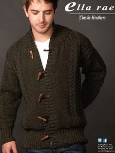Design: Classic Heathers Cardigan using Ella Rae Classic Wool Knitting Designs, Knitting Patterns Free, Free Pattern, Knit Patterns, Knit Cardigan Pattern, Knit Jacket, Crochet Woman, Knit Fashion, Crochet Clothes
