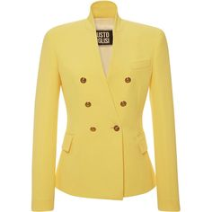 Fausto Puglisi Yellow Double Breasted Jacket ($1,670) ❤ liked on Polyvore