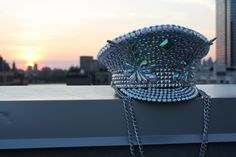 Custom Jeweled Burning Man Hat; disco ball festival hat; rhinestone silver iridescent Playa perfect captain hat, custom burning man hat by IneffableGlitter on Etsy https://www.etsy.com/listing/400656833/custom-jeweled-burning-man-hat-disco